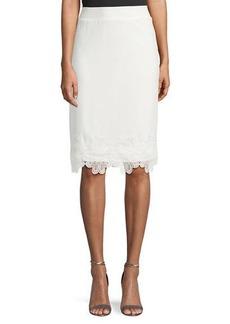 Carmen Marc Valvo Pull-On Embroidered-Hem Pencil Skirt