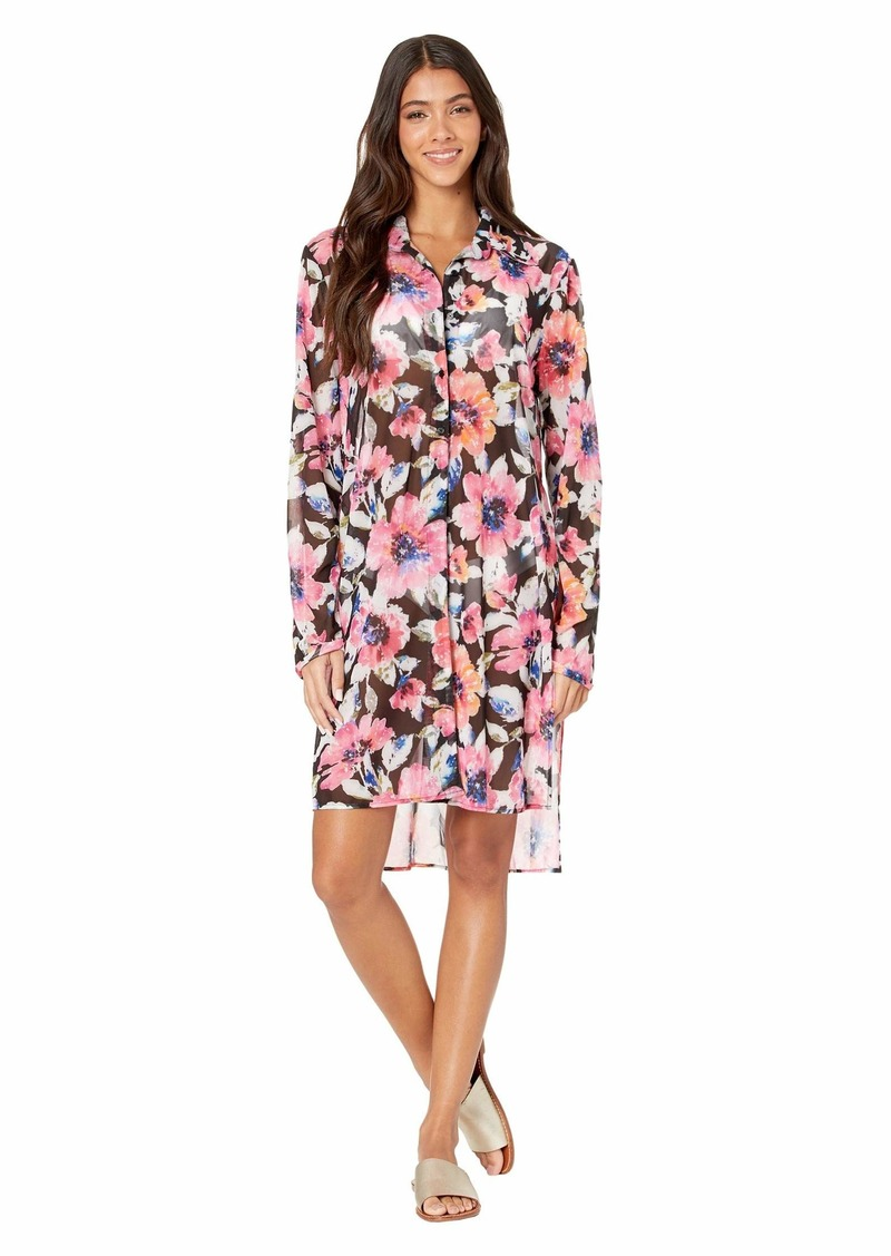 Carmen Marc Valvo Riviera Blooms Long Front Tie Cover-Up Mesh Shirt
