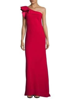 Carmen Marc Valvo Ruffle Crepe One-Shoulder Gown