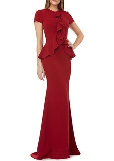 Carmen Marc Valvo Ruffle Crepe Short-Sleeve Column Gown