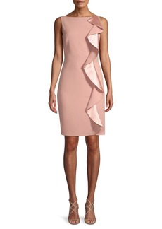 Carmen Marc Valvo Ruffle-Front Crepe Dress