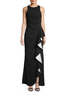 Carmen Marc Valvo Ruffle Front Gown