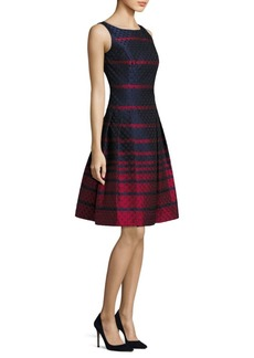 Carmen Marc Valvo Scalloped Fit-&-Flare Dress