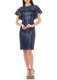 Carmen Marc Valvo Sequin Embroidered Cocktail Dress