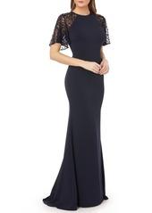 Carmen Marc Valvo Sequin Lace Sleeve Crepe Gown