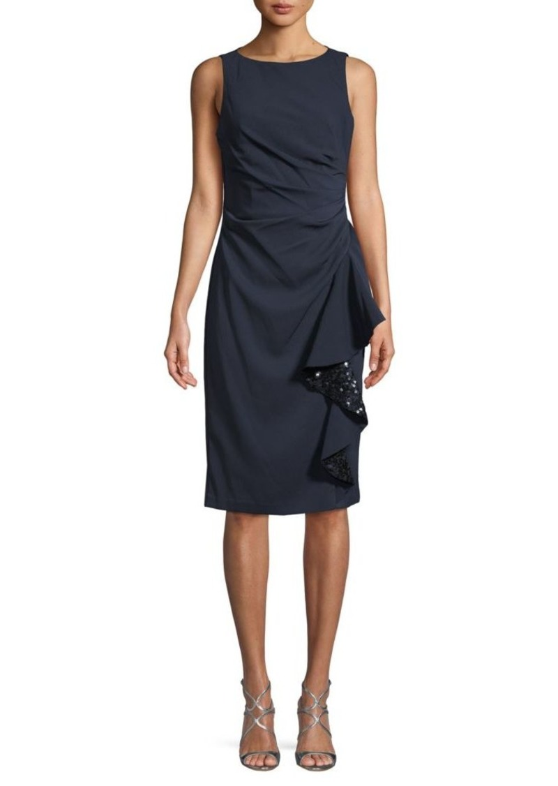 Carmen Marc Valvo Sequin Ruffle Sheath Dress