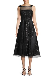 Carmen Marc Valvo Sequined A-Line Dress