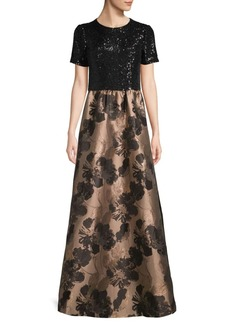 Carmen Marc Valvo Sequined Floral Gown