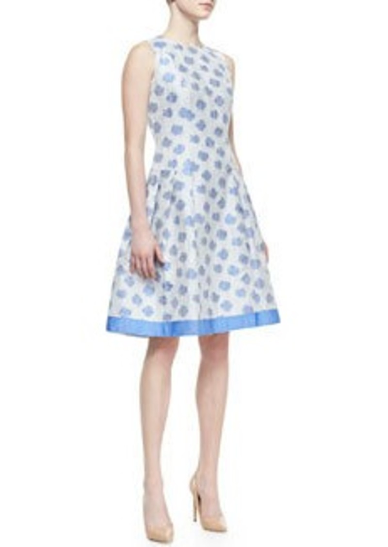 Carmen Marc Valvo Sleeveless Abstract Floral-Print Cocktail Dress, White/Light Blue   Sleeveless Abstract Floral-Print Cocktail Dress, White/Light Blue