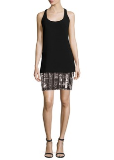 Carmen Marc Valvo Sleeveless Crepe & Jersey Tank Dress
