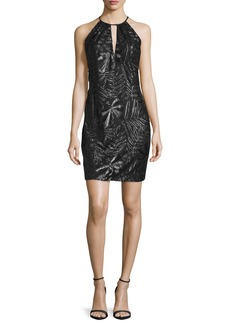 Carmen Marc Valvo Sleeveless Embroidered Sheath Cocktail Dress