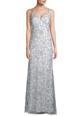 Carmen Marc Valvo Sleeveless Floral Gown