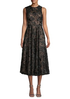 Carmen Marc Valvo Sleeveless Lace Midi Dress