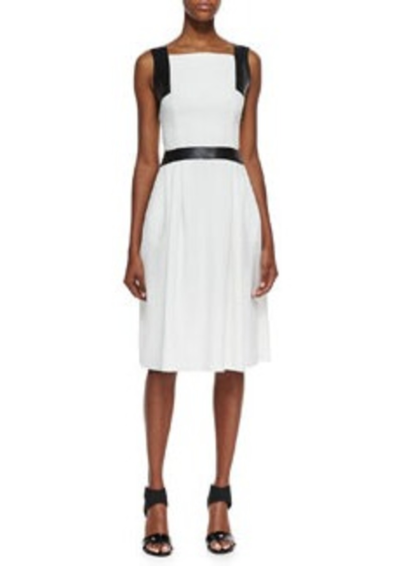 Carmen Marc Valvo Sleeveless Leather-Trim Dress, Ivory, Black   Sleeveless Leather-Trim Dress, Ivory, Black