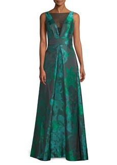 Carmen Marc Valvo Sleeveless Mesh Gown