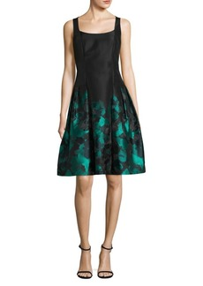 Carmen Marc Valvo Sleeveless Printed A-Line Dress