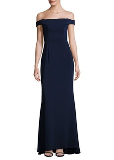 Carmen Marc Valvo Solid Off-The-Shoulder Gown