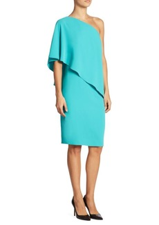 Carmen Marc Valvo Solid One-Shoulder Dress