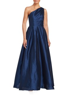 Carmen Marc Valvo Solid One-Shoulder Gown