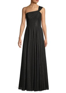 Carmen Marc Valvo Sparkle Chiffon One-Shoulder Gown