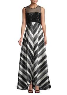 Carmen Marc Valvo Striped Gown