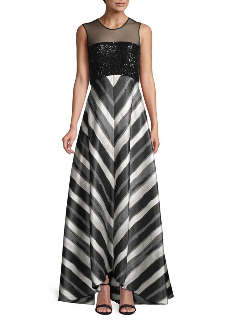 Carmen Marc Valvo Striped Gown
