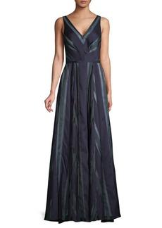 Carmen Marc Valvo Striped V-Neck Gown