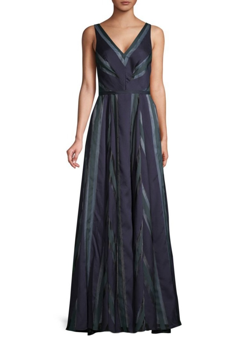 Carmen Marc Valvo Striped V-Neck Gown