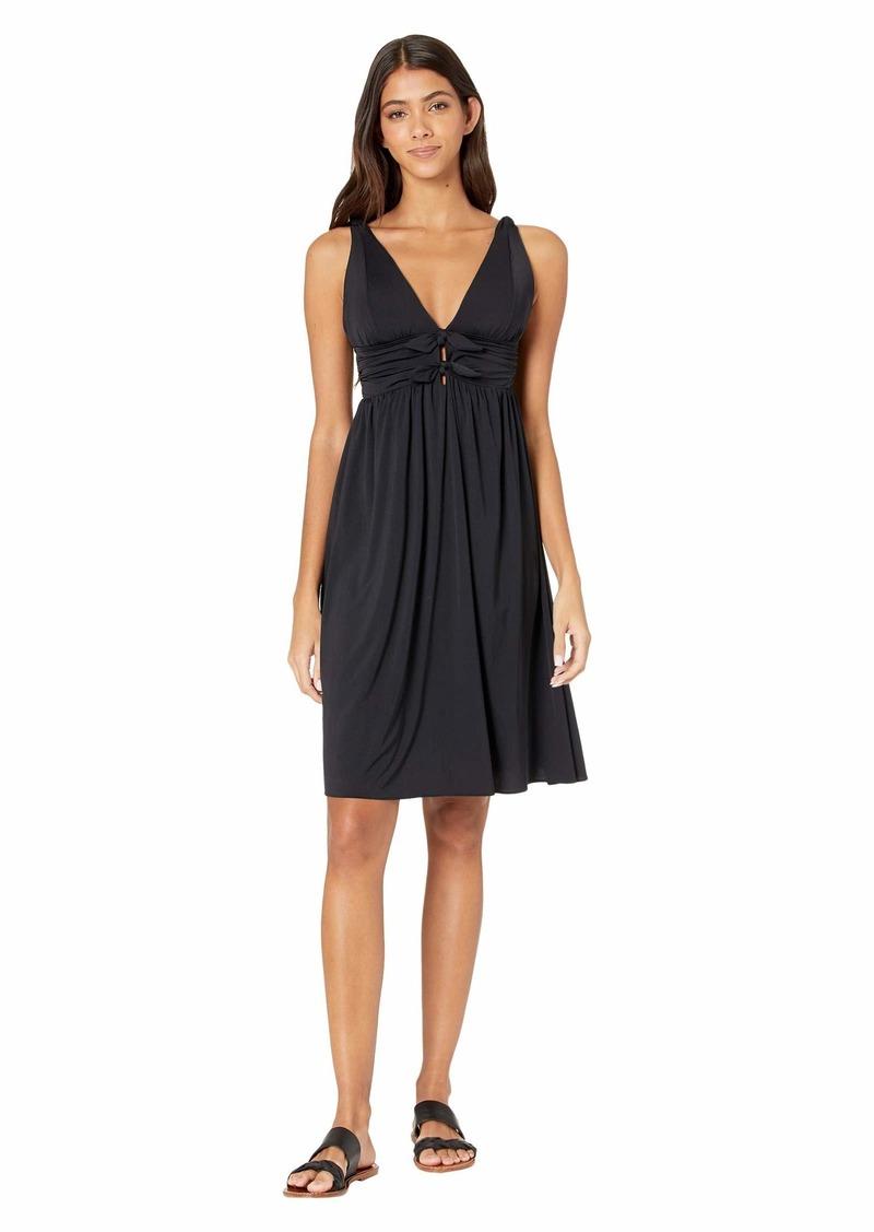 Carmen Marc Valvo Sunlit Seas Over the Shoulder Cover-Up Dress