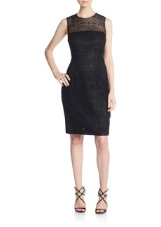 Carmen Marc Valvo Textured Sheath Dress