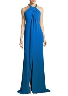 Carmen Marc Valvo Toga Embellished Neck Gown
