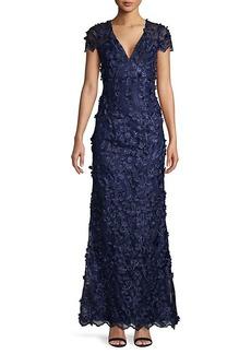 Carmen Marc Valvo Tufted Floral & Sequin Gown