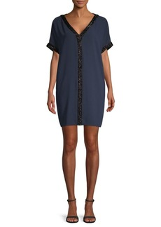 Carmen Marc Valvo V-Neck Crepe Dress