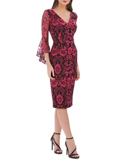 Carmen Marc Valvo V-Neck Lace Bell-Sleeve Dress