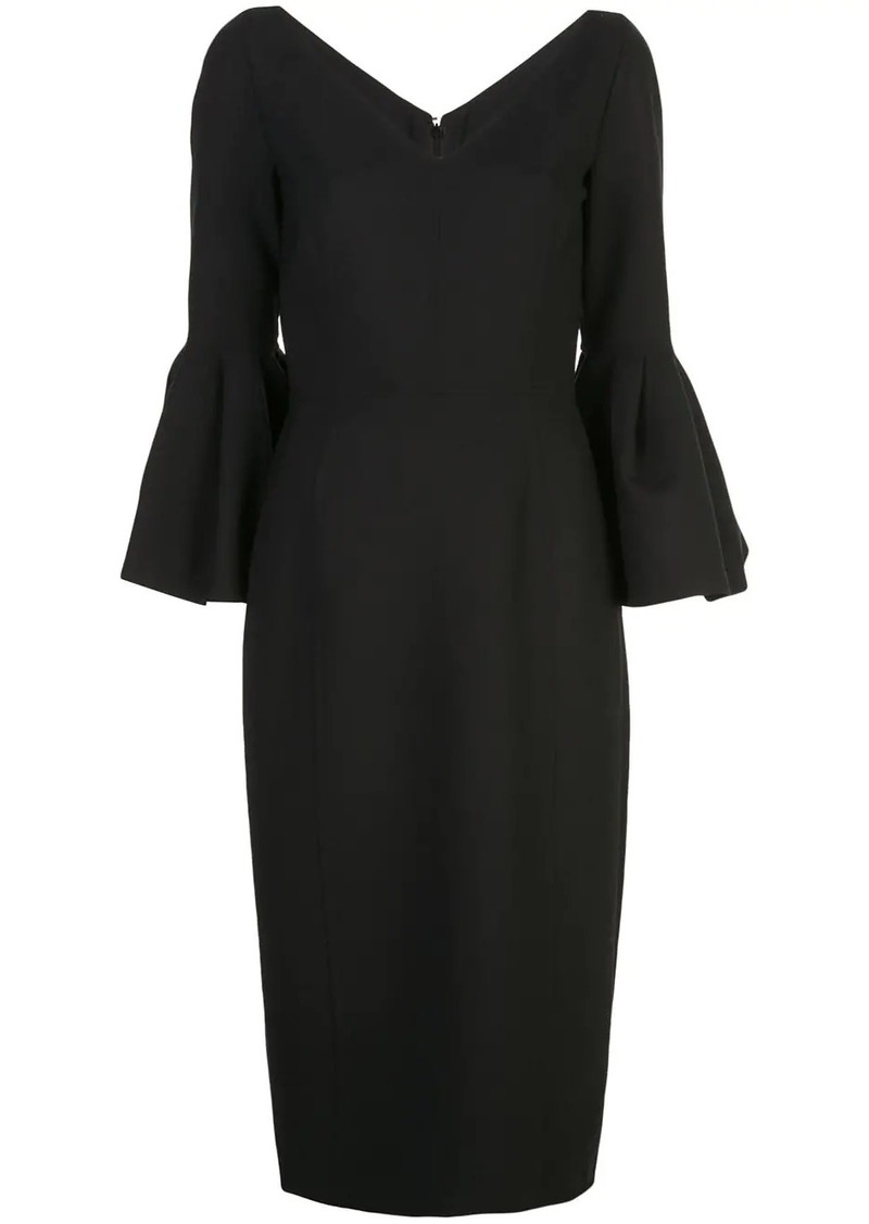 Carolina Herrera v-neck bell sleeve pencil dress