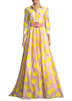 Carolina Herrera 3/4 Sleeve Dot-Print Fil Coupé Trench Gown