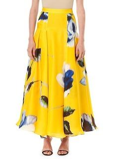 Carolina Herrera A-Line Box-Pleat Silk Maxi Skirt
