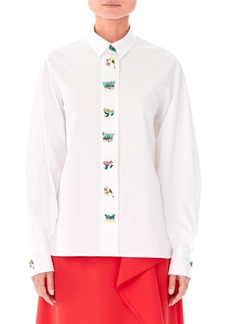 Carolina Herrera Animal-Buttons Collared Cotton Shirt