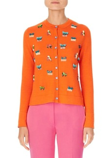 Carolina Herrera Animal-Embroidered Cashmere & Silk Knit Cardigan