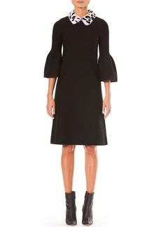Carolina Herrera Bell-Sleeve A-Line Stretch-Wool Knit Dress w/ Fur Collar