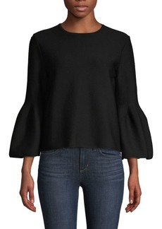 Carolina Herrera Knit Bell-Sleeve Wool Top