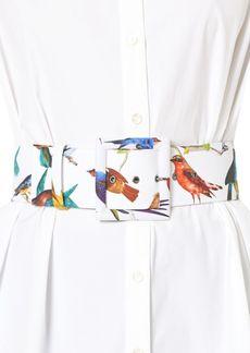 Carolina Herrera Bird-Print Buckled Belt
