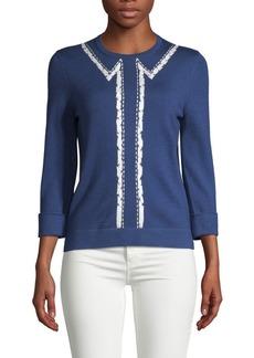 Carolina Herrera Bolero Embroidered Sweater