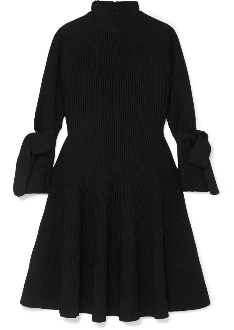 Carolina Herrera Bow-detailed Ribbed-knit Mini Dress