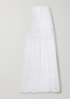 Carolina Herrera Broderie Anglaise Cotton Wide-leg Pants