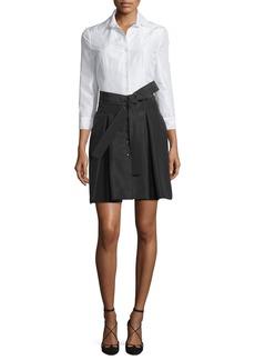 Carolina Herrera 3/4-Sleeve Colorblock Trench Dress
