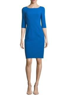 Carolina Herrera 3/4-Sleeve Sheath Dress