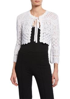 Carolina Herrera 3/4-Sleeve Tie-Front Macrame Knit Cardigan with Bow