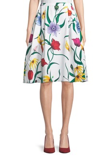 Carolina Herrera A-Line Floral-Print Cotton Skirt