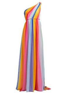 Carolina Herrera Asymmetric striped silk-chiffon gown